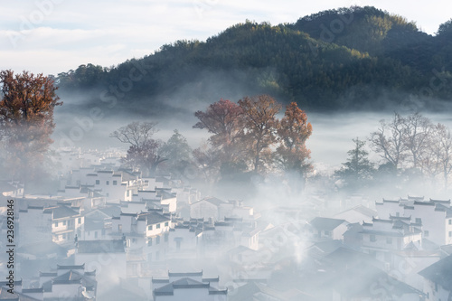 dim smoke and mist scene of shicheng village