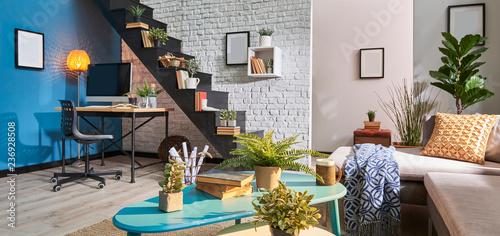 Modern Living Room Banner Style Brick Wall Working Desk And