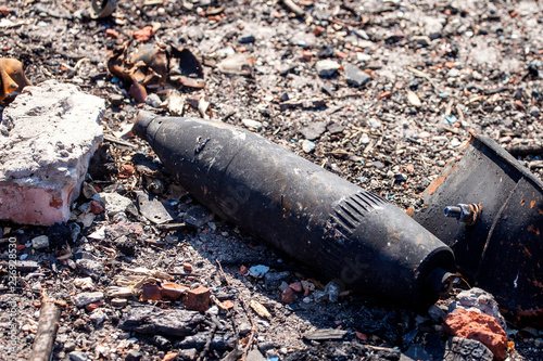 Valokuvatapetti unexploded ordnance, War actions aftermath, Ukraine and Donbass conflict