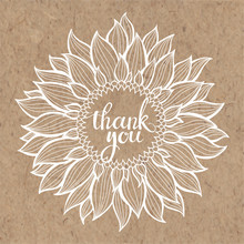 Thank You Card With Sunflower....