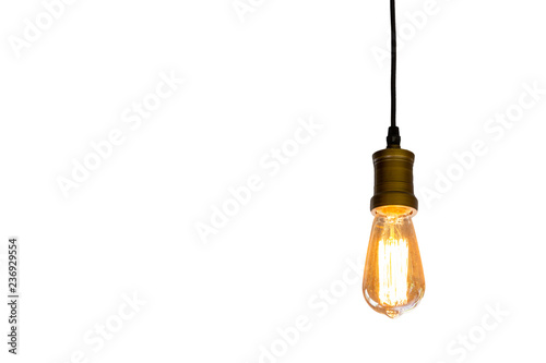 Vintage light bulb hanging isolated white background, Idea concept Fototapeta
