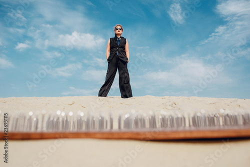 Photo crazy funny grunge punk redhead woman with dreadlocks in office clothes and sung