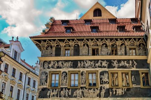 Spoed Foto op Canvas Centraal Europa Prag, Haus zur Minute