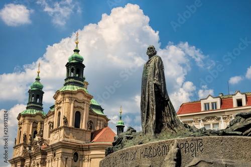 Spoed Foto op Canvas Centraal Europa Prag, St. Nikolaus und Jan Hus