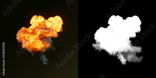Obraz Large explosion with black smoke in dark plus alpha channel. 3d rendering - fototapety do salonu