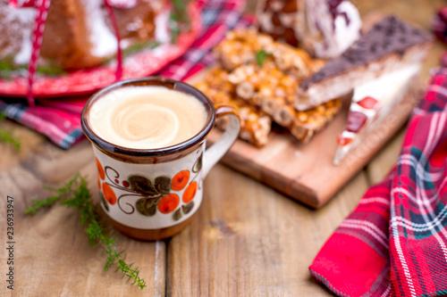Photo  Christmas bread for a festive breakfast