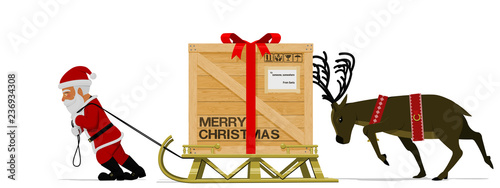Obraz Santa Claus and his reindeer are moving his heavy sleigh - fototapety do salonu