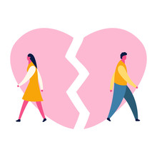 Heartbroken Sad Young Man Guy And Woman Girl Couple Parting Divorce. Depression Vector