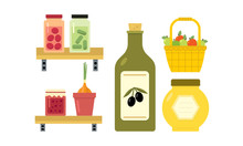Flat Vector Design Of Basket With Apples, Pickled Cucumbers And Tomatoes, Jar Of Jam And Honey, Bottle Of Olive Oil