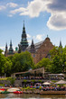 Scenic summer view of the Old Town pier architecture in Stockholm, Sweden
