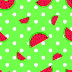 Watermelon background on white polka dot with light green background color vector