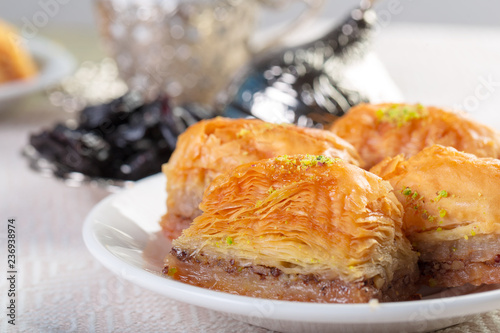 Fotografie, Obraz  Handmade baklava, traditional turkish pastry close up