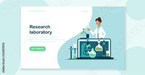 Fotografía  Landing page template of scientist in laboratory flat vector concept with woman making research