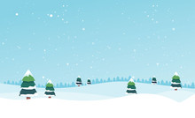 Winter Landscape With Fir Trees And Snow. Winter Background. For Design Flyer, Banner, Poster, Invitation