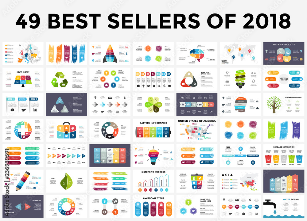 Obraz Best infographic templates of 2018. Presentation slides set. Circle diagrams, timelines, light bulb, puzzle brain head, brush stroke banners. Medicine, education, ecology, business infographics. fototapeta, plakat