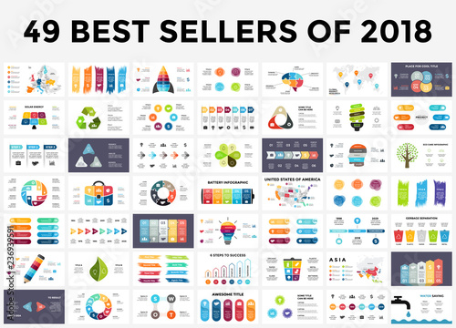 Fototapeta Best infographic templates of 2018. Presentation slides set. Circle diagrams, timelines, light bulb, puzzle brain head, brush stroke banners. Medicine, education, ecology, business infographics. obraz