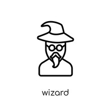 Wizard Icon. Trendy Modern Flat Linear Vector Wizard Icon On White Background From Thin Line Fairy Tale Collection