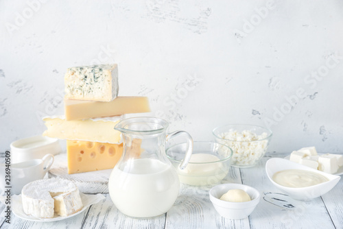 Poster Dairy products Assortment of dairy products