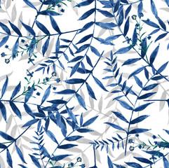 Fototapetablue leaves seamless watercolor hand painted background