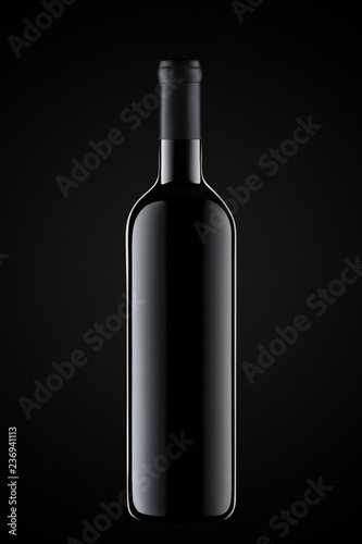 Template concept one wine bottle for your design and advertising company promotion your of product on black background. Wine bottle mockup. Front view