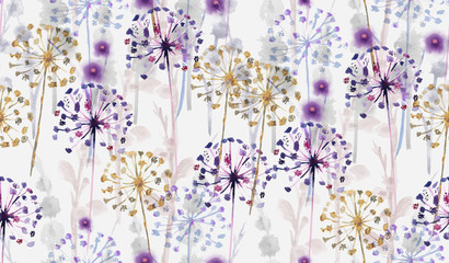 FototapetaSeamless Watercolor wild floral pattern in hand painting style , delicate flower wallpaper