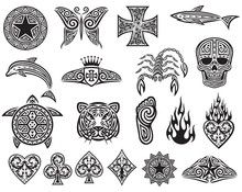 Tattoo Tribal Icons Set (design Elements - Star, Butterfly, Cross, Shark, Dolphin, Scorpion, Skull, Turtle, Tiger, Foot, Fire, Heart, Playing Cards Symbols)