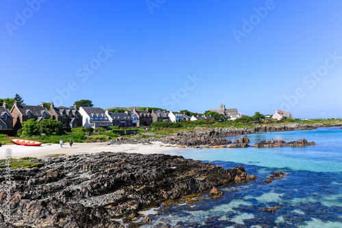 Canvas-taulu landscape of isle of  iona beach and village in scotland