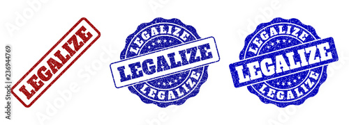 Fotografia, Obraz  LEGALIZE grunge stamp seals in red and blue colors