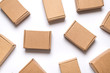 canvas print picture - Lot of cardboard boxes on white background