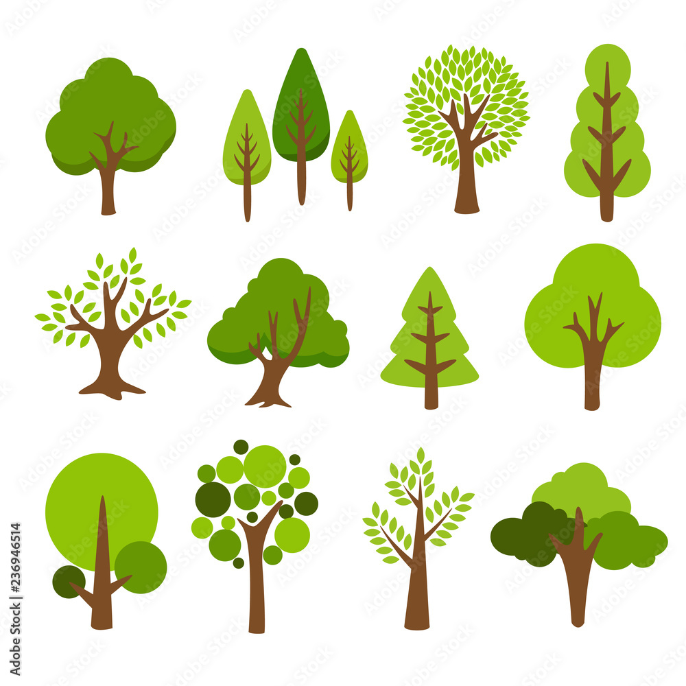 Fototapety, obrazy: Collection of trees. tree set isolated on white background. vector illustration.