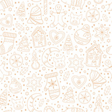 Seamless Pattern With Gingerbread Cookies