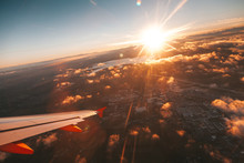 Operation Departure And Landing From Nantest Airport With Rays Light At Sunset - France