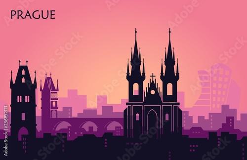 Fotografia Landscape of Prague with sights. Abstract skyline