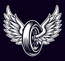 Vector Motorcycle Wheel With Wings