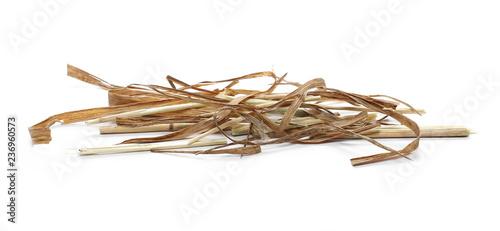 Valokuvatapetti Decorative straw, thatch, hay isolated on white background and texture