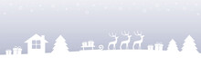 Bright Christmas Winter Border With Reindeers Gifts And Firs Vector Illustration EPS10