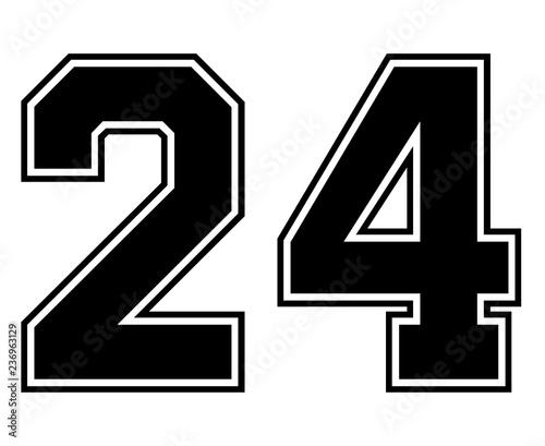 Classic Vintage Sport Jersey Number 24 in black number on ...
