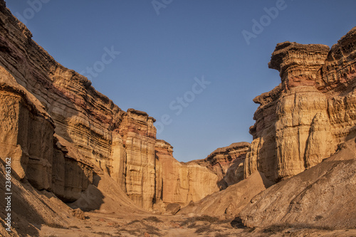 Beautiful sunset in the canyons of the Namibe Desert Canvas Print