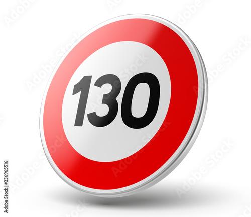 Tela  Panneau vitesse limitée à 130 km/h vectoriel 1