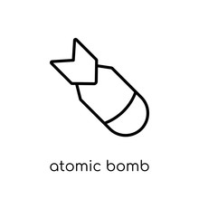 Atomic Bomb Icon. Trendy Modern Flat Linear Vector Atomic Bomb Icon On White Background From Thin Line Fairy Tale Collection