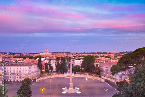Foto op Plexiglas Centraal Europa Aerial wonderful view of Rome with roman square Piazza del Popolo, looking west from the Pincio at sunrise in Rome, Italy