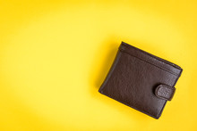 Brown Men's Wallet On Yellow B...
