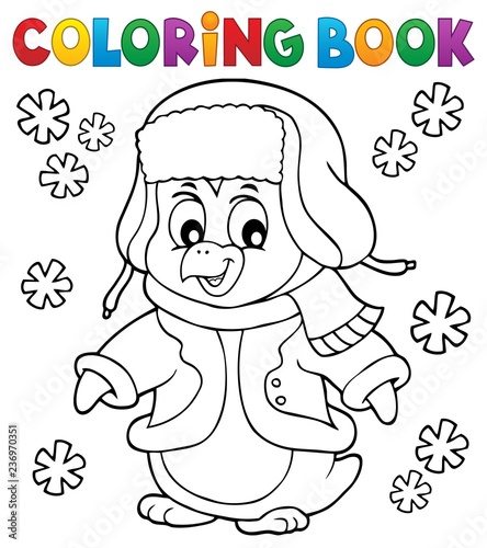 Coloring book winter penguin topic 1