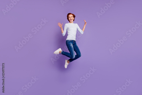 Close up full length size body portrait of jumping high beautifu
