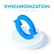 Synchronization Isometric Icon. 3D Isometric Sync Sign. Refresh Icon. Created For Mobile, Web, Decor, Print Products, Application. Perfect For Web Design, Banner And Presentation. Vector Illustration.
