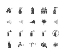 Spray Can Flat Glyph Icons Set...