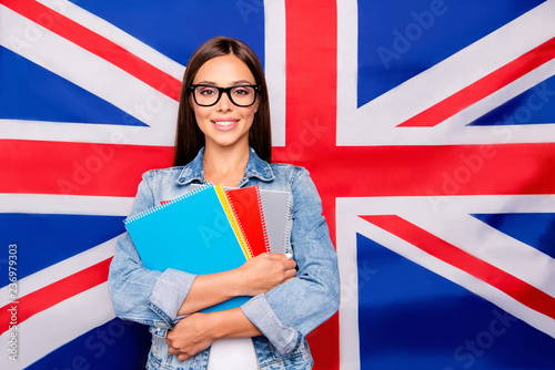 Portrait of cute sweet lovely confident smiling student lady emi Wallpaper Mural