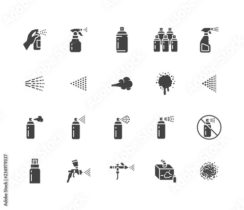 Spray can flat glyph icons set  Hand with aerosol, airbrush