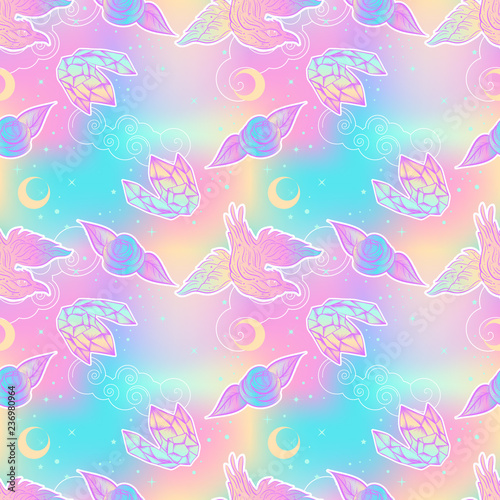 fototapeta na ścianę Cute kawaii seamless pattern with crow, rose, crystal. Childish print at 90s style.