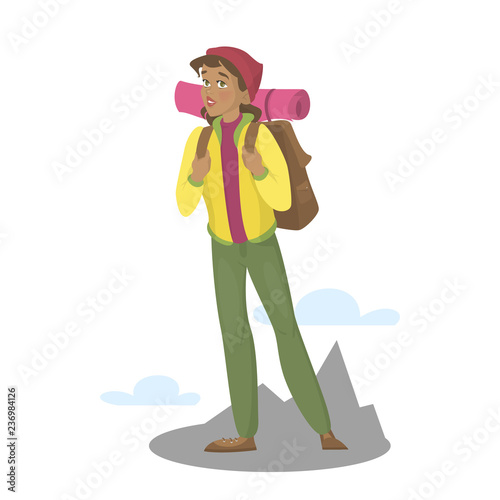 Photo Female character with backpack hiking. Active and healthy